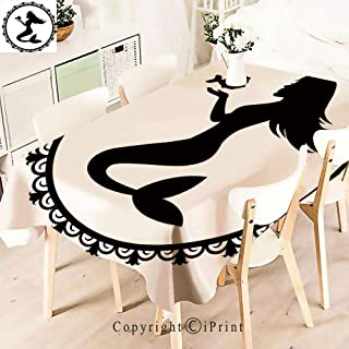 Party Decorations Polyester Tablecloth,Graphic Illustration of a Framed Princess,Waterproof Stain Resistant Table Topper,W55 xL71,Black White