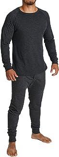 2pcs Set Men's Merino Wool Blend Long Sleeve Thermal Top & Long Johns Pants