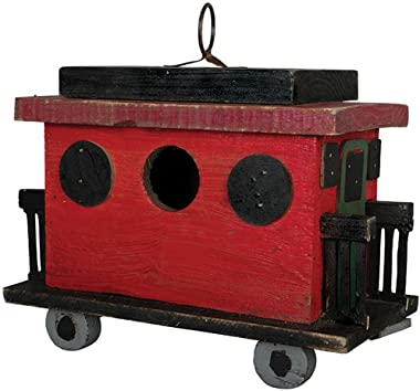 Carson Caboose Birdhouse 9.75 Inches Length x 5 Inches Width x 9 Inches Height Wood Home Decor
