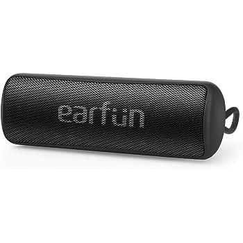 EarFun Go Bluetooth 5.0 ワイヤレススピーカー 低音増強 12W IPX7防水 24時間連続再生 USB-C急速充電 【ステレオペアリング/高音質DSP技術/パッシブラジエーター搭載】 ハンズフリー通話 音声アシスト機能 ブラック