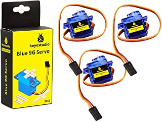 KEYESTUDIO SG90 9G Micro Servo Motor Robot Arm Helicopter Airplane Fans RC Toys with Blue Color (3pcs) for Arduino MEGA, R...