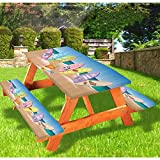 72 Inch Polyeste Deluxe Picnic Table Covers,An Illustration Collection of Surfboards on the Sandy Beach The Sky and the Sea Tablecloth fits 6 ft Tables and Benches for Outdoor,Park,Patio Multicolor