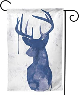 PIELAPA Reindeer David Deer Chinese Contracted Creed Welcome Flag Outdoor Outside Holiday Party Decorations Ornament Home House Garden Yard Decor Double Sided 12.5 X 18 Small 28 X 40 Jumbo Large