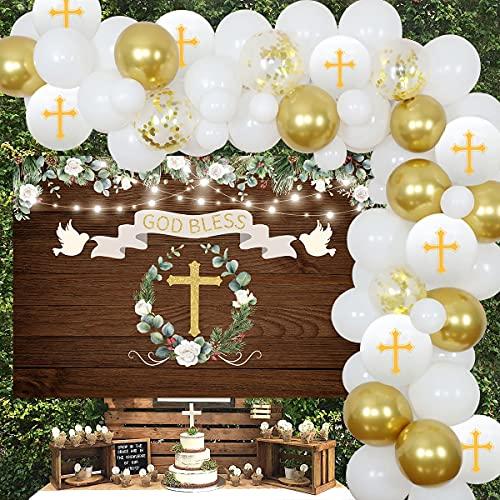 Decoraciones para fiesta de bautismo Decoraciones de primera comunión de oro blanco para niños niñas Fondo de madera rústica Kit de guirnalda de globos Decoración de bautizo God Bless for Party