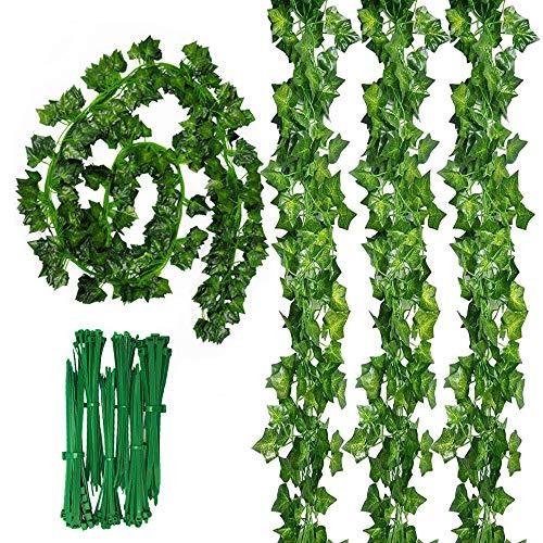 Sweieoni12pcs Hiedra Artificial, Plantas Artificial Decoración Hojas, Artificial Hiedra Guirnalda Plantas, Enredaderas Artificiales, Decoracion Jardin, Decoracion Terraza+ 50 PCS Bridas de Nylon