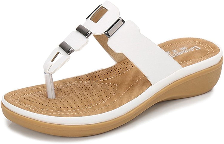 GIY Women's Low Wedge Flip Flop Sandals Platform Comfort Anti-Slip Metallic Summer Beach Thong White Black