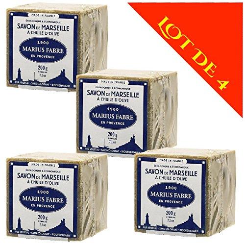 Lot de 4 savons de MARSEILLE à L'HUILE D'OLIVE - Cubes de 200g - Marius Fabre