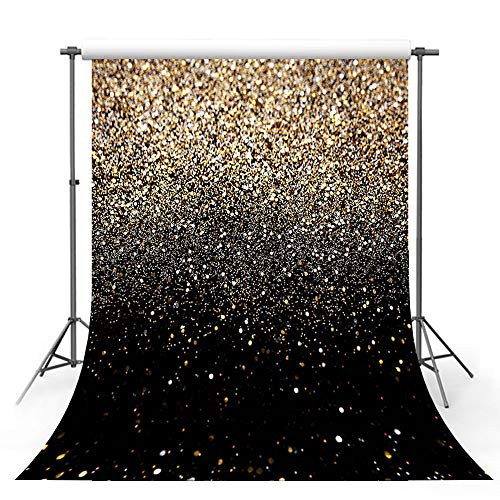 MEHOFOTO Gold Glitter Sequin Spot Black Prom Backdrops Starry Sky Shining Abstract Photo Background Birthday Party Banner Wedding Children Newborn Photography Studio Props 5x7ft