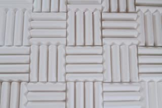 White Acoustic Foam Panels - Wedge Style Studio Foam Soundproofing Tiles - 12x12 Inch - Multiple Thicknesses (3 Inch Thick - 2 Pack)