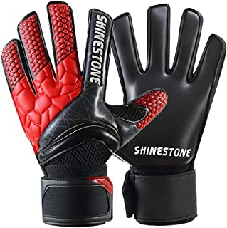 Shinestone Goalkeeper Goalie Gloves, Youth Adult Kids Soccer Football Goalkeeper Goalie Gloves with Strong Grip and Finger Protection to Prevent Injuries, Size 5-10, 3 Colors