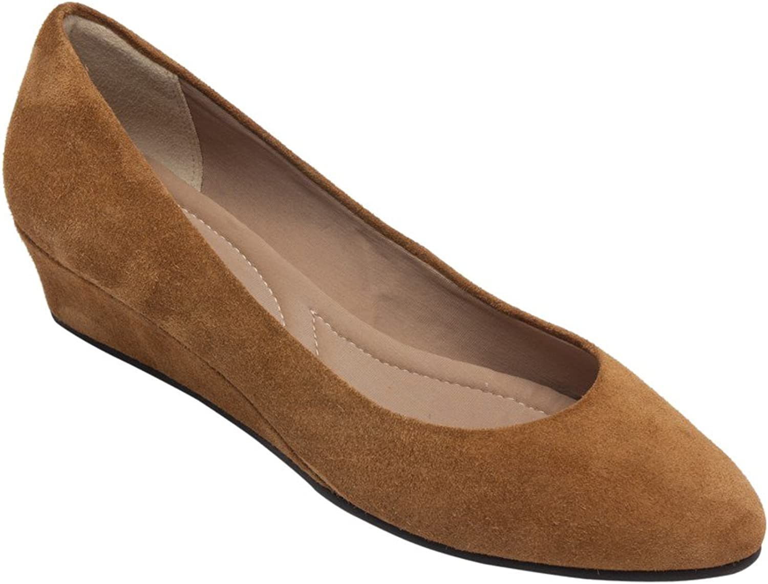 PIC PAY Talia - Women's Pumps Wrapped Wedge - Mid Height Heel Suede Leather Comfortable Slip-On shoesCamel Suede 6.5M