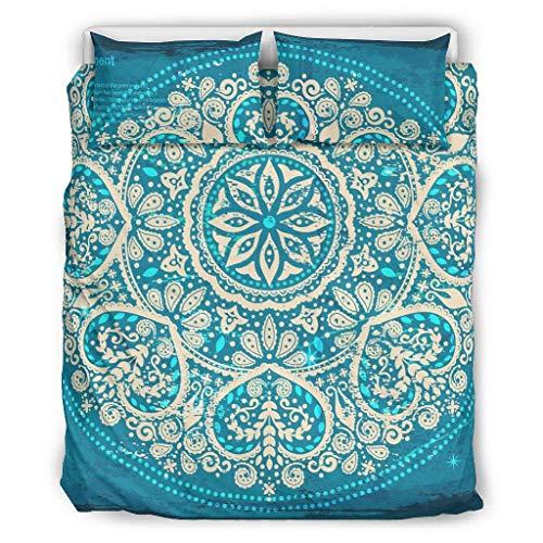 O2ECH-8 Royalblue Mandala Tagesdecke Bettwäsche Set 3-teilig Bettbezüge - Ethnischer Stil Ultra-Soft Boho Bettwäschesets White 168x229cm