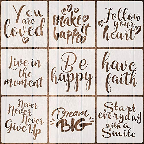 9 Pieces Word Stencils Inspirational Quote Stencils Resuable Plastic Motivational Templates for Word Art Works, Home Decor & DIY Projects