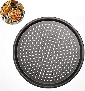 YFOX Bandeja de Pizza Antiadherente de Acero al Carbono Perforada, Redonda, 32x32x1.5cm (Gris)