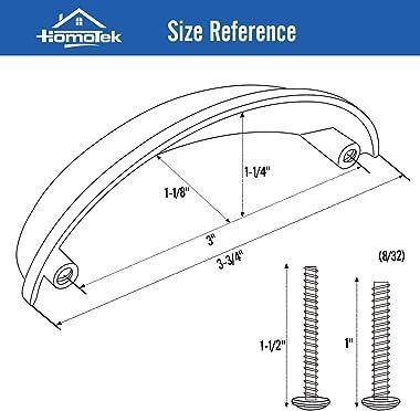 HOMOTEK 6 Pack Drawer Bin Cup Pulls Dresser Pulls for Cabinets Oil Rubbed Bronze - 3 Inch Hole Centers Furniture Handles,Kitc
