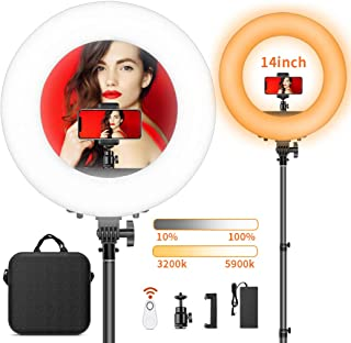 LED Ring Light with Stand, FOSITAN 13.6 inch Outer Dimmable YouTube Light 3200K-5900K Bi-Color Halo Light Ring with Phone Holder for Phone and Camera, Circle Ring Light for Makeup Video Filming Salon