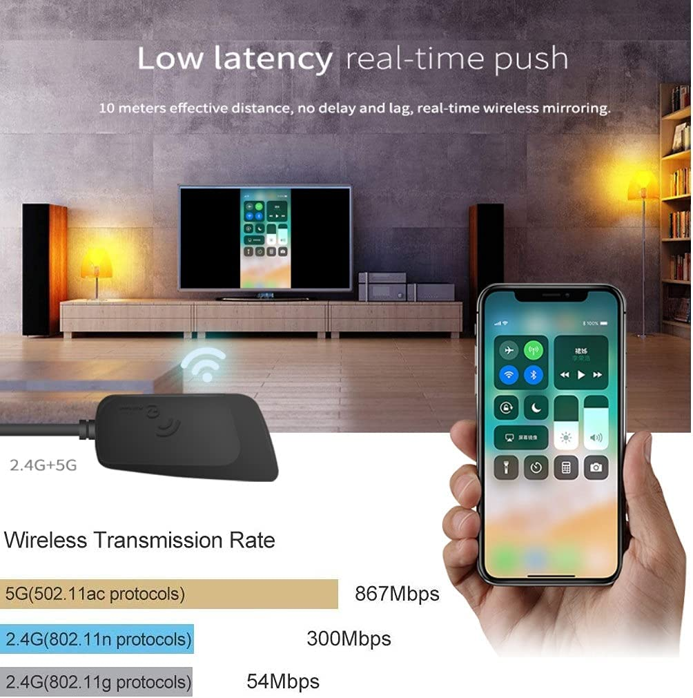 4K 1080P Wireless Display Receiver 5G/2.4G Dual Band, SmartSee WiFi HDMI Mobile Screen Cast Mirroring Adapter Dongle for iPhone Mac iOS Android to TV Projector Support Miracast Airplay DLNA