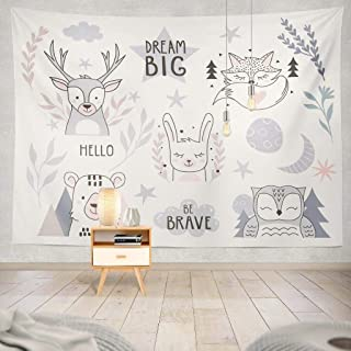 Kutita Tapestry Wall Hanging Nursery Forest Animals Collection with Lettering Baby Cute Rabbit Fox Wall Tapestry Home Decorations for Bedroom Living Room Dorm Decor in 80
