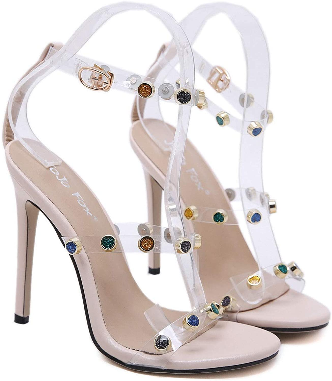Women's Fashion shoes Sandals - High - Ankle Strap - Transparent - Rhinestone Cone High Heel 11 cm (color   Khaki, Size   37)