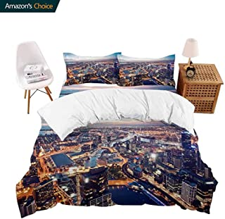 PRUNUSHome Hotel Collection Soft Luxury Bed Sheets Breathable a View of Melbourne at Night Victoria Australia Warm 4 Piece Set Queen