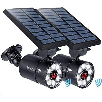 Solar Motion Sensor Light Outdoor of 2, 1400-Lumen 9-Watt(110W Equ.) LED Spotlight, Aluminum Solar Flood Security Emergency Lights for Driveway Patio Garden, 160-Week 100% Free Replacement
