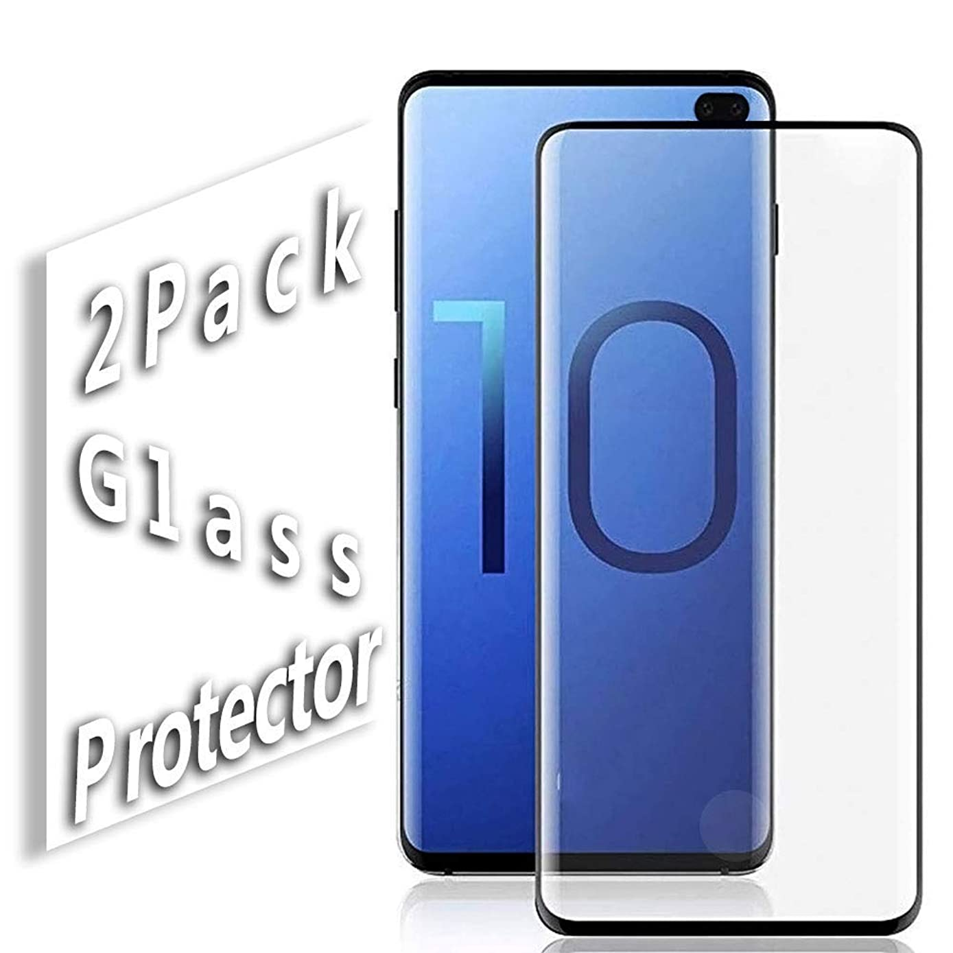 Galaxy S10 Plus Screen Protector,Updated Version-Zone Support Fingerprint Unlock [No Bubbles][Case Friendly] Tempered Glass Screen Protector Compatible with Samsung Galaxy S10 Plus(Black)