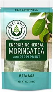 Kuli Kuli Energizing Herbal Moringa Tea, Peppermint, 15 Count, Caffeine-Free Tea with Antioxidants, No Artificial Flavors or Ingredients, Light and Refreshing Tisane