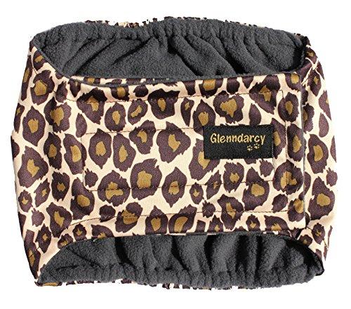 Glenndarcy Männliche Hundewindeln Gürtel - Urininkontinenz - Leopard XS Long Band & 2 Washable Pads