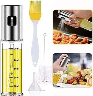 Olive Oil Sprayer for Cooking, 4 IN 1 Oil Dispenser Mister with Basting Brush,Bottle Brush and oil Funnel, Refillable Oil ...