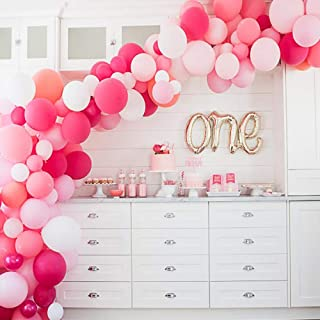 Soonlyn Hot Pink Latex Party Balloons 105 Pcs 10 Inches - Round Balloon Macaron 6 Colors for Baby Shower Birthday Party Wedding