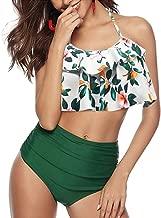 HLTPRO High Waisted Swimsuits for Women - Flounce Crop Bikini Top with Print Cut Out Bottoms