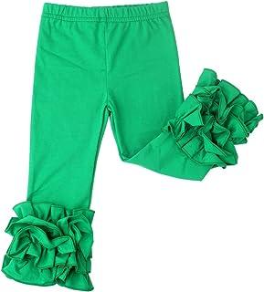 Slowera Little Girls` Ruffle Leggings Baby Toddler Solid Color Pants