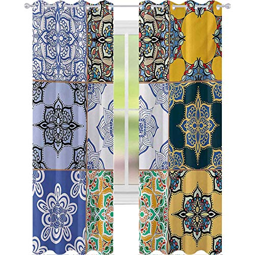 Cortinas opacas para dormitorio y patrones de azulejos portugueses, varios tonos y texturas, impresión bohemia, 63 pulgadas de largo, cortinas de bloqueo de luz para guardería, multicolor