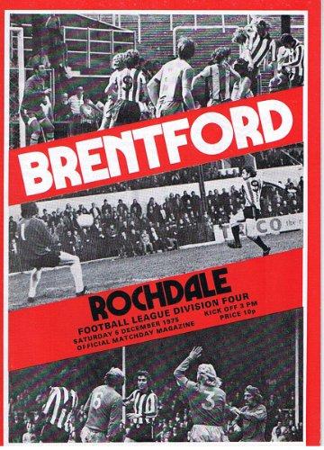 Brentford v Rochdale FC 06/12/75 (Griffin Park) football programme