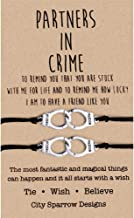 YJT Partners in Crime Wish Bracelets Best Friend BFF Bracelets for 2 Girls Kids Women Friendship Matching Handcuff Bracelets for Couples, Mom and Daughter