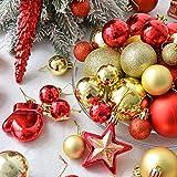 WEYON 113 Stück Christbaumkugeln Set Weihnachtskugeln aus Kunststoff Golden & Rot Baumschmuck Weihnachtsbaum Deko & Christbaumschmuck in unterschiedlichen Größen und Designs - 4