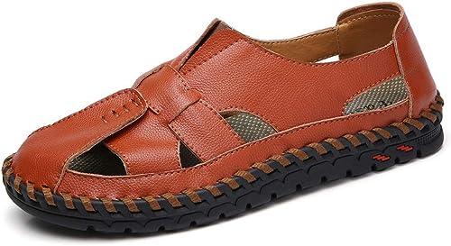 TYX-SS Sommer-Leder-Baotou-Strandschuhe im Freien Rutschfeste Größe Schuhe für Herren Sandalen