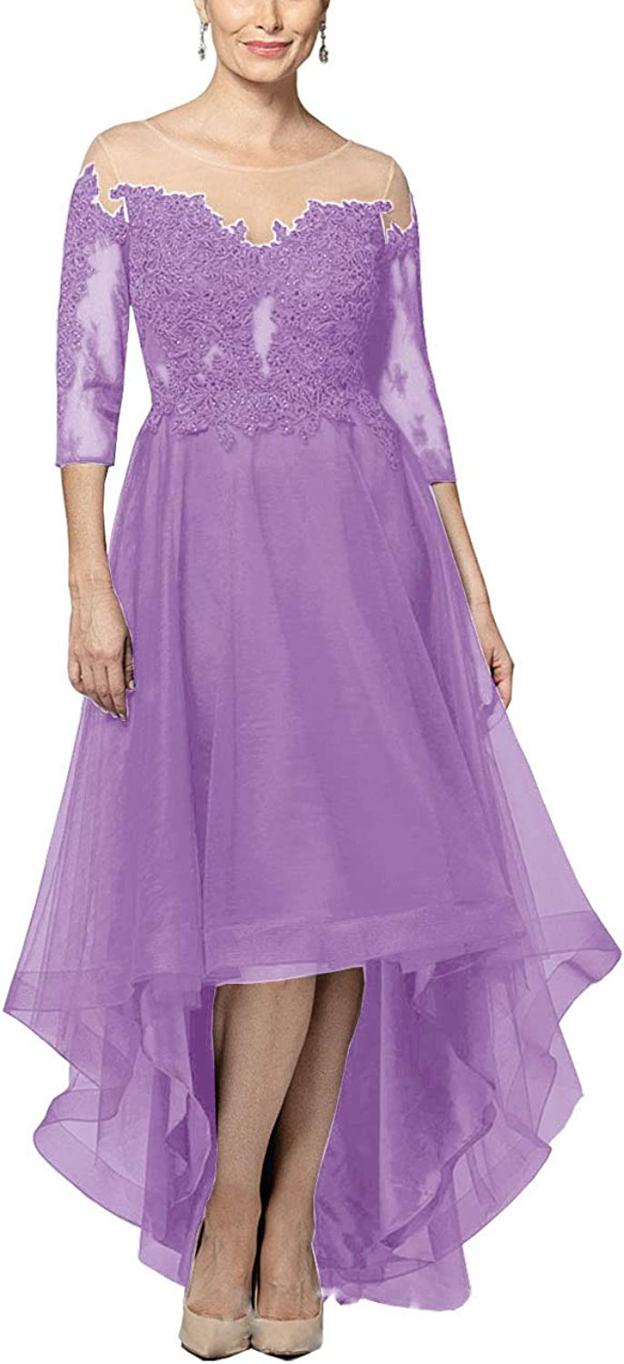 WHZZ HiLow Mother of The Bride Dresses with Sleeves Lace Evening Formal Gowns