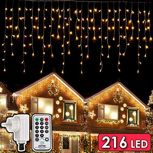 216 LED Lichterkette, 5.5M Eiszapfen Lichter mit EU stecker, 8 Leuchtmodi Dimmbar, Eisregen Lichtervorhang mit Remote Timer, Außen Innen Deko für Weihnachten Garten Party Hochzeit Winter (Warmweiß)