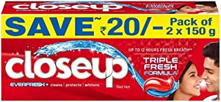 Closeup Everfresh+ Anti-Germ Gel Toothpaste Red Hot, 150 g (Pack of 2)