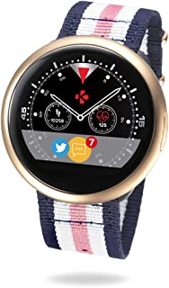 MyKronoz ZeRound2 HR Premium Smartwatch with Heart Rate Monitoring and Smart Notifications, Swiss Design, iOS and Android - Brushed Pink Gold / Pink White Blue Nato Band