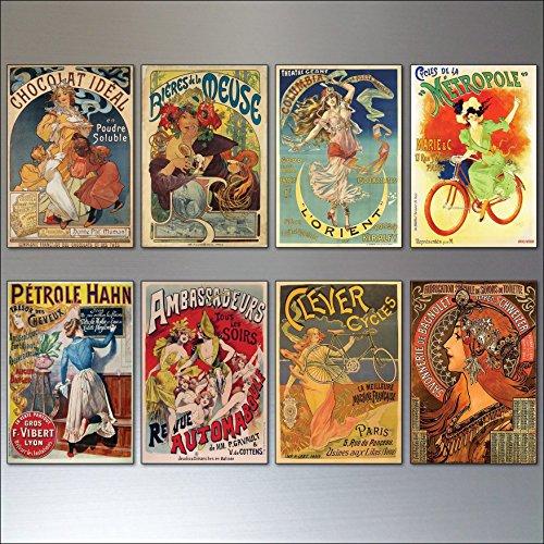 A set of 8 Vintage French Art Nouveau Bohemian Poster Prints Fridge Magnets - No.1