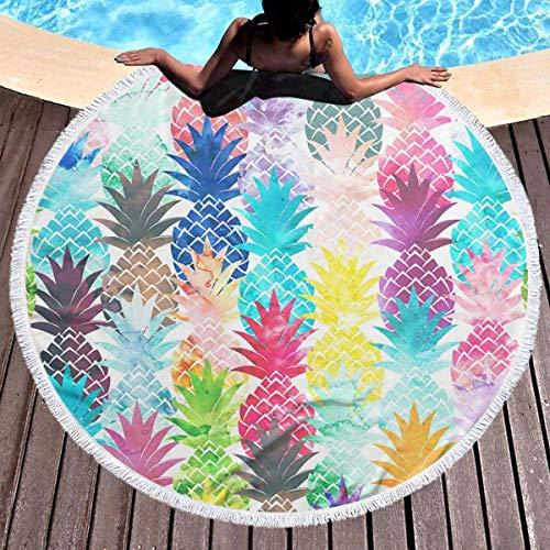 Toalla de playa de piña tropical hawaiana Tapiz de playa redondo con borlas Manta de playa a prueba de arena Toalla de esterilla de yoga 59 pulgadas