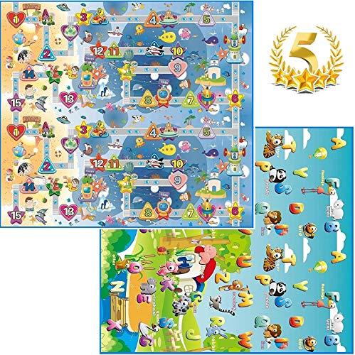 GLOBOLANDIA 92714 Tappeto Bambini Medio Spessore Ideale per Il Gattonamento 200X180x1 Double Face ( Lettere/Numeri )