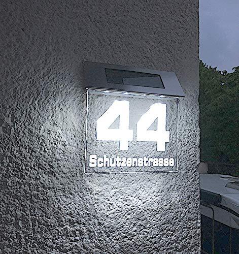 Solar Stars beleuchtete Hausnummer 140mm individuell CNC gefertigt