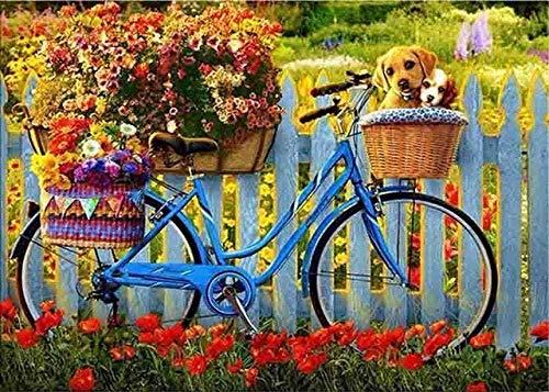Kit De Pintura De Diamante 5D Para Adultos,Paisaje Bicicleta Flores Completo Cristal Diamante Bordado Pinturas Artes Kit De Punto De Cruz Para Decoración De La Pared Del Hogar 40×50cm