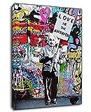 Quadro - Banksy Graffiti L'amore di Einstein è la risposta XXL Stampa su Tela Immagini Moderni Murale Grafica Astratto Arte da Parete Pittura Foto Per Casa Soggiorno Bagno Decorazione,#2,50x70cm