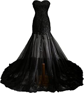 Fair Lady Gothic Vintage Mermaid Prom Dress Long Beaded Lace Black Wedding Dress Party Gown