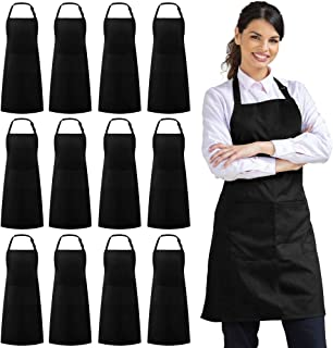 Syntus 12 Pack Adjustable Bib Apron Waterdrop Resistant with 2 Pockets Cooking Kitchen Aprons for Women Men Chef, Black