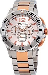 Nautica Men's 44mm Two Tone Steel Bracelet Steel Case Quartz Watch A27525G